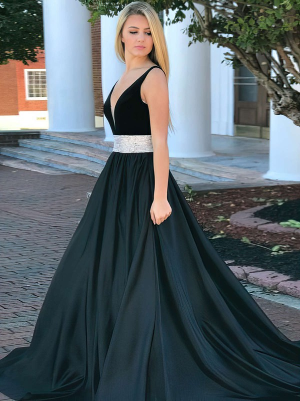 Ball Gown V-neck Satin Sweep Train Beading Prom Dresses #Favs020106110