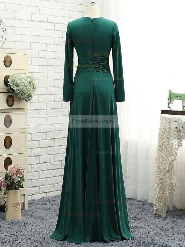 A-line Scoop Neck Floor-length Jersey Prom Dresses with Ruffle #Favs020106111