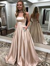 Princess Strapless Floor-length Satin Prom Dresses with Beading #Favs020105052