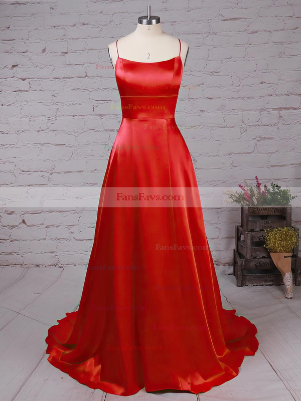 A-line Scoop Neck Silk-like Satin Sweep Train Pockets Prom Dresses #Favs020105078