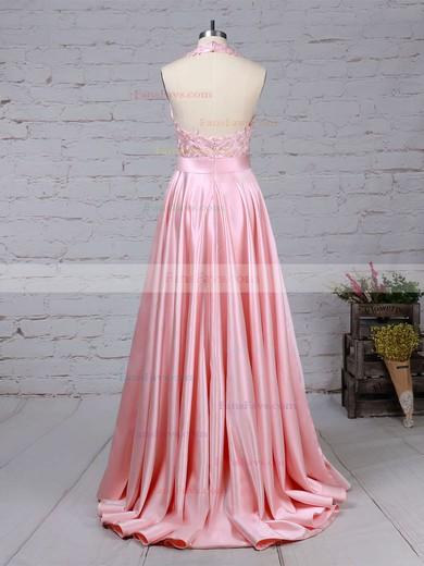 Princess Halter Sweep Train Taffeta Prom Dresses with Appliques Lace Ruffle #Favs020105085