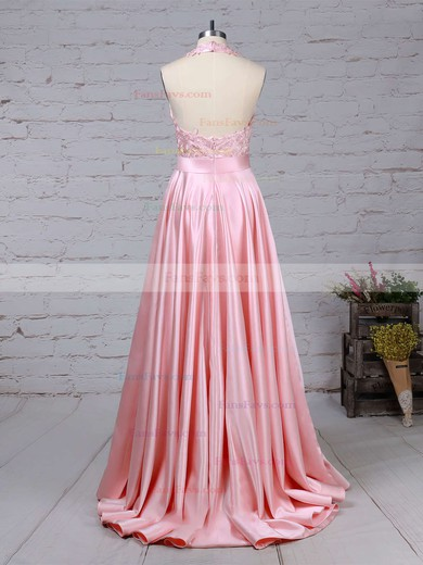 Princess Halter Satin Sweep Train Appliques Lace Prom Dresses #Favs020105085