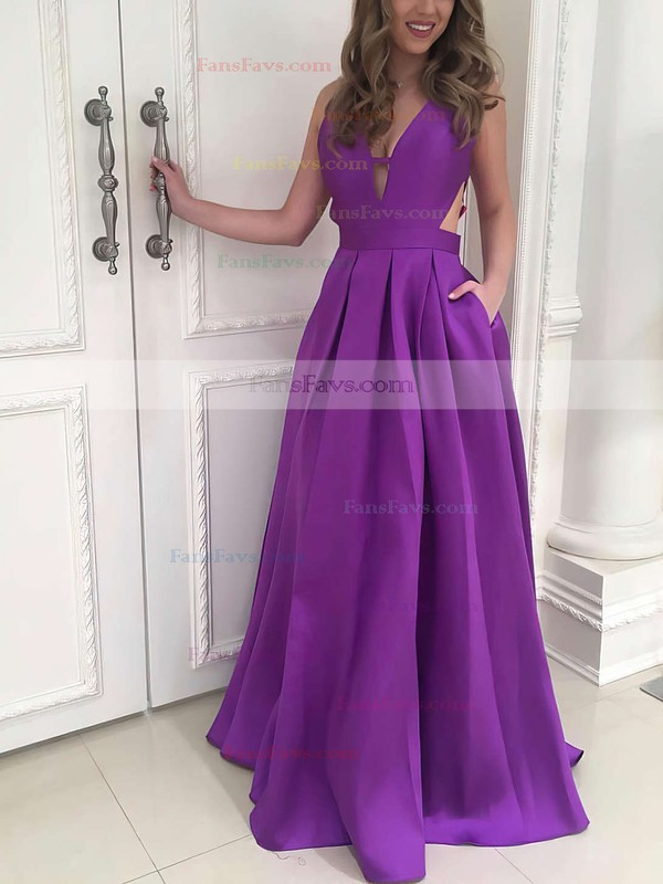 Princess V-neck Sweep Train Satin Prom Dresses with Ruffle #Favs020105088