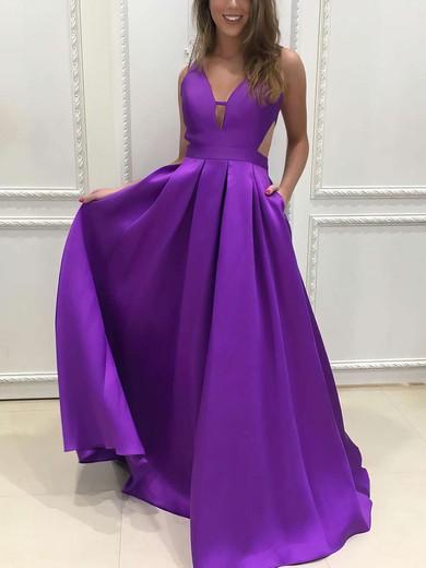 Princess V-neck Satin Sweep Train Pockets Prom Dresses #Favs020105088