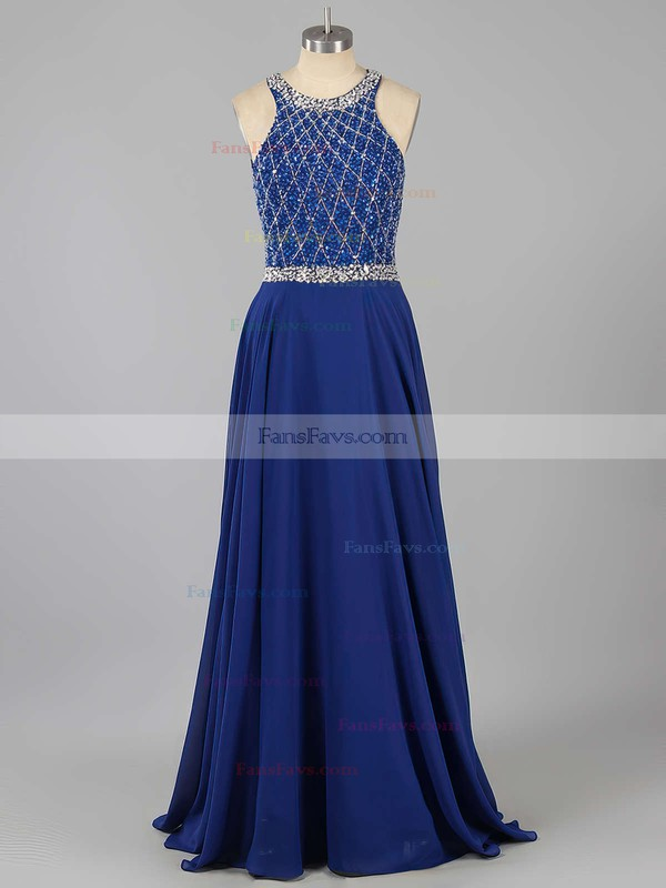 A-line Scoop Neck Chiffon Sweep Train Beading Prom Dresses #Favs020101817