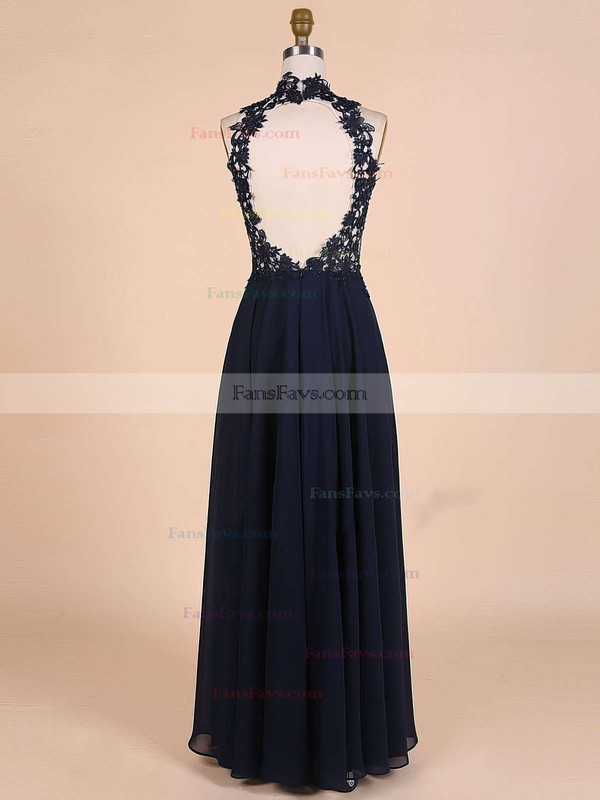 A-line High Neck Floor-length Chiffon Prom Dresses with Appliques Lace Beading #Favs020101828