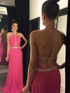 Sheath/Column Scoop Neck Chiffon Sweep Train Beading Prom Dresses #Favs020102444