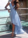 A-line V-neck Asymmetrical Chiffon Prom Dresses with Sashes #Favs020103203