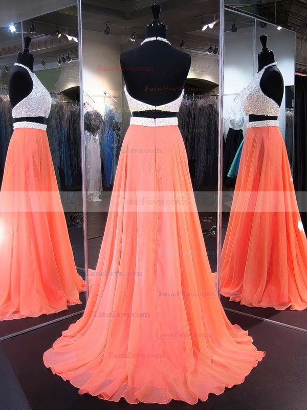 A-line Halter Chiffon Sweep Train Crystal Detailing Prom Dresses #Favs020103270