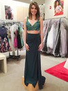 Sheath/Column V-neck Chiffon Floor-length Split Front Prom Dresses #Favs020103291