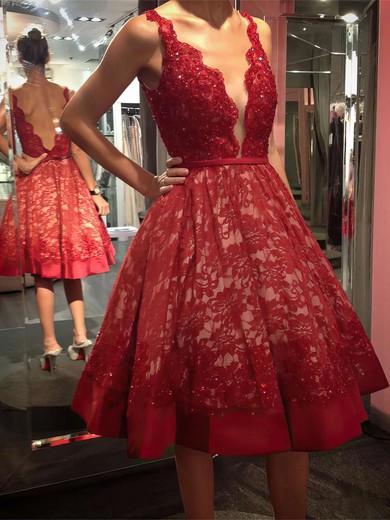 Princess V-neck Lace Knee-length Beading Prom Dresses #Favs020103246