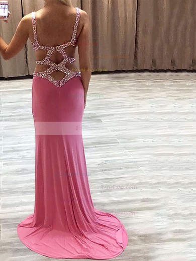 Sheath/Column V-neck Sweep Train Chiffon Prom Dresses with Beading Split Front #Favs020103525