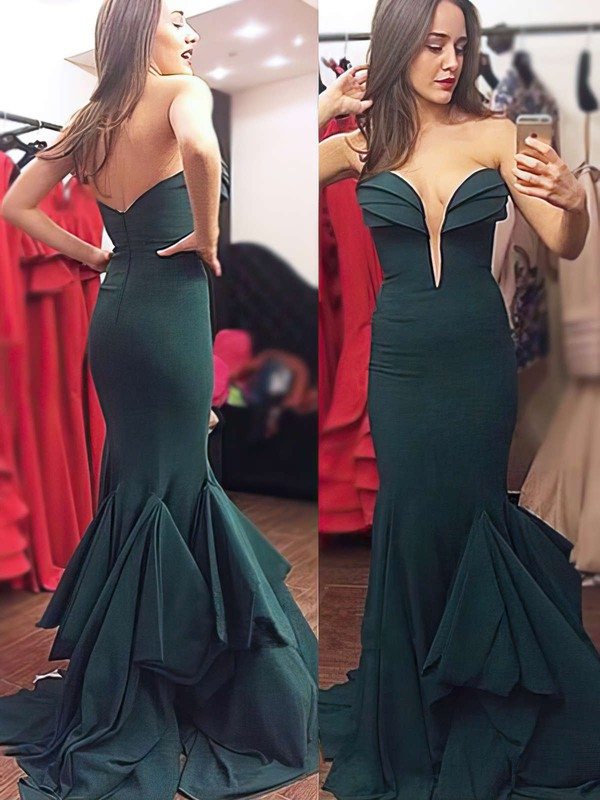 Trumpet/Mermaid V-neck Sweep Train Chiffon Prom Dresses with Ruffle #Favs020103754