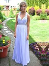 A-line V-neck Floor-length Chiffon Prom Dresses with Beading Ruffle #Favs020104383