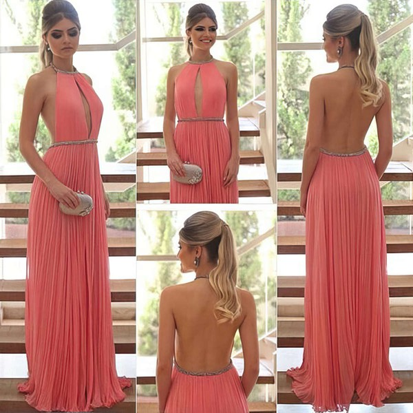 A-line Halter Floor-length Chiffon Prom Dresses with Beading #Favs020104388