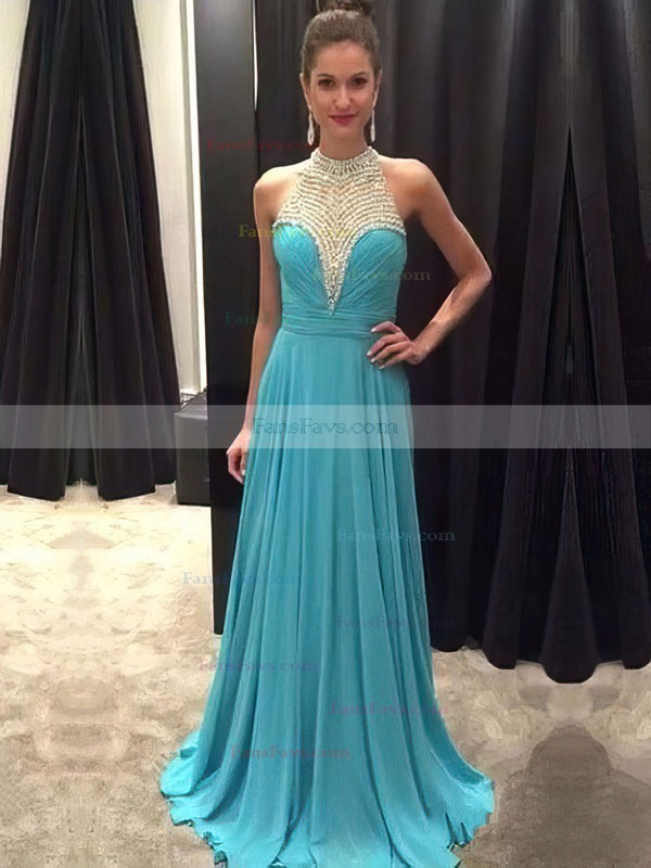 A-line Scoop Neck Chiffon Sweep Train Beading Prom Dresses #Favs020104454