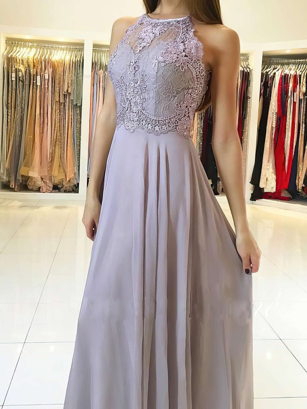 A-line Scoop Neck Floor-length Chiffon Prom Dresses with Lace #Favs020104856