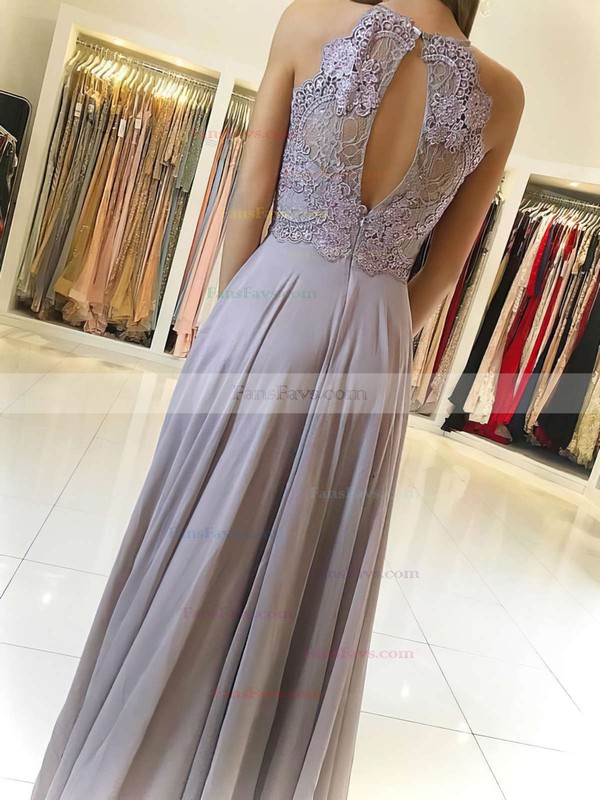 A-line Scoop Neck Chiffon Floor-length Lace Prom Dresses #Favs020104856