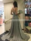 A-line V-neck Chiffon Sweep Train Prom Dresses #Favs020104896