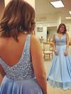 A-line V-neck Chiffon Floor-length Beading Prom Dresses #Favs020104967