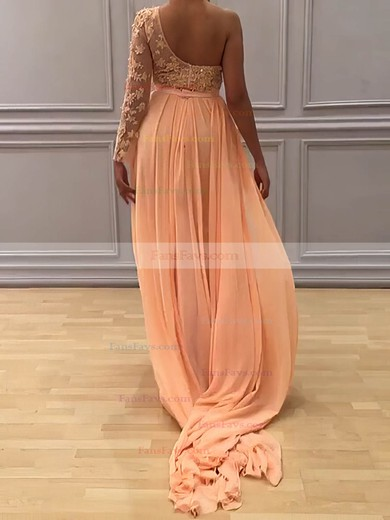 Sheath/Column One Shoulder Chiffon Sweep Train Appliques Lace Prom Dresses #Favs020104983