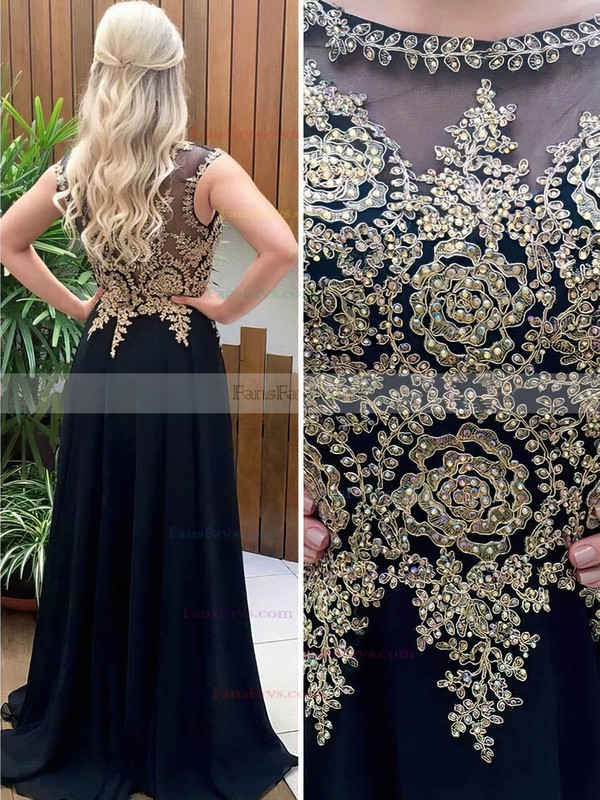 A-line Scoop Neck Chiffon Sweep Train Beading Prom Dresses #Favs020105012