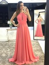 A-line Scoop Neck Sweep Train Chiffon Prom Dresses with Beading Ruffle #Favs020105147