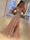 A-line V-neck Silk-like Satin Sweep Train Appliques Lace Prom Dresses #Favs020105179