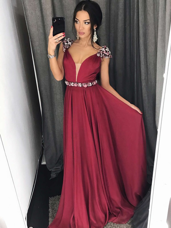 A-line V-neck Chiffon Sweep Train Beading Prom Dresses #Favs020105239