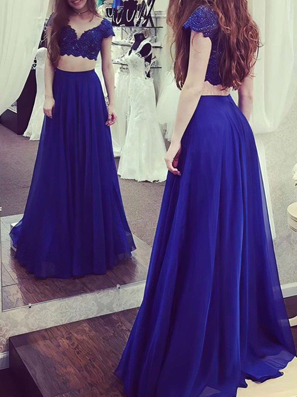 A-line V-neck Floor-length Chiffon Prom Dresses with Lace #Favs020105263