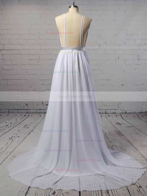 A-line V-neck Chiffon Sweep Train Sashes / Ribbons Prom Dresses #Favs020105276