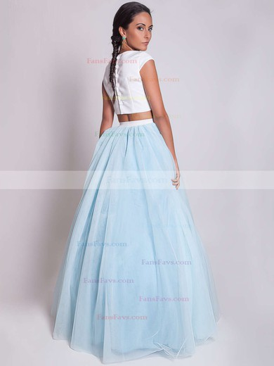 Princess Scoop Neck Floor-length Satin Tulle Prom Dresses with Ruffle #Favs020103301
