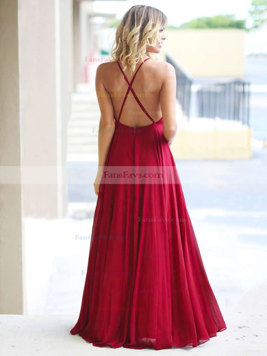 A-line Scoop Neck Floor-length Chiffon Prom Dresses with Ruffle #Favs020105315