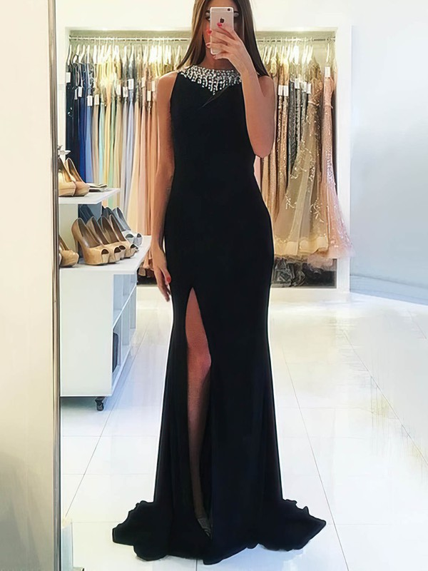 Sheath/Column Scoop Neck Sweep Train Chiffon Prom Dresses with Beading Split Front #Favs020105344