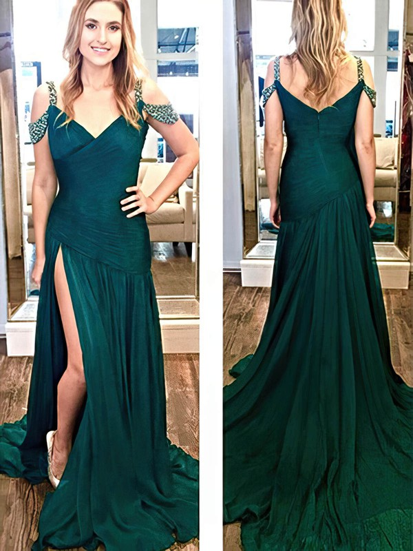 A-line V-neck Sweep Train Chiffon Prom Dresses with Beading Split Front #Favs020105354