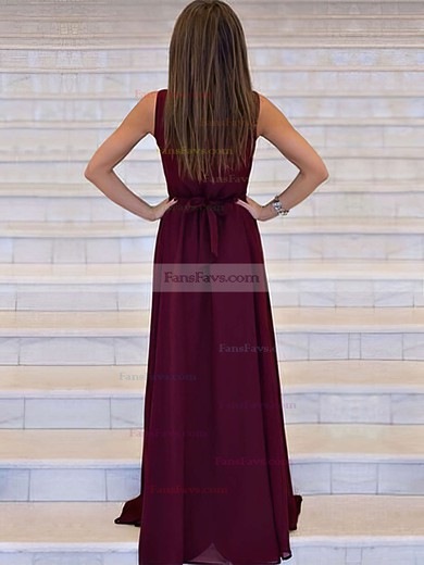 A-line V-neck Sweep Train Chiffon Prom Dresses with Sashes #Favs020105360