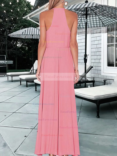 A-line Scoop Neck Chiffon Floor-length Split Front Prom Dresses #Favs020105363
