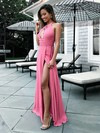 A-line Scoop Neck Floor-length Chiffon Prom Dresses with Ruched Split Front #Favs020105363