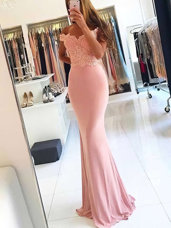 Sheath/Column Off-the-shoulder Jersey Sweep Train Beading Prom Dresses #Favs020105707