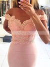 Sheath/Column Off-the-shoulder Sweep Train Chiffon Prom Dresses with Appliques Lace Beading #Favs020105707