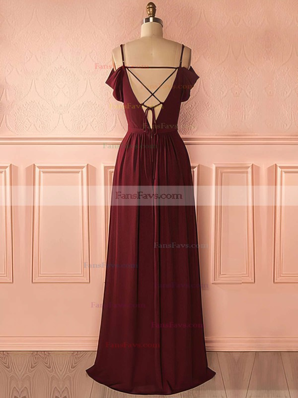 A-line V-neck Floor-length Chiffon Prom Dresses with Lace Ruffle #Favs020105740