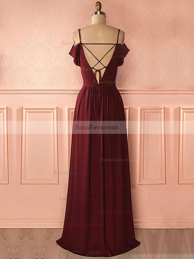 A-line V-neck Chiffon Floor-length Lace Prom Dresses #Favs020105740