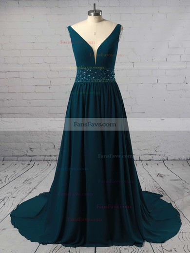 A-line V-neck Sweep Train Chiffon Prom Dresses with Beading #Favs020105755