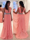 A-line V-neck Chiffon Sweep Train Beading Prom Dresses #Favs020105780