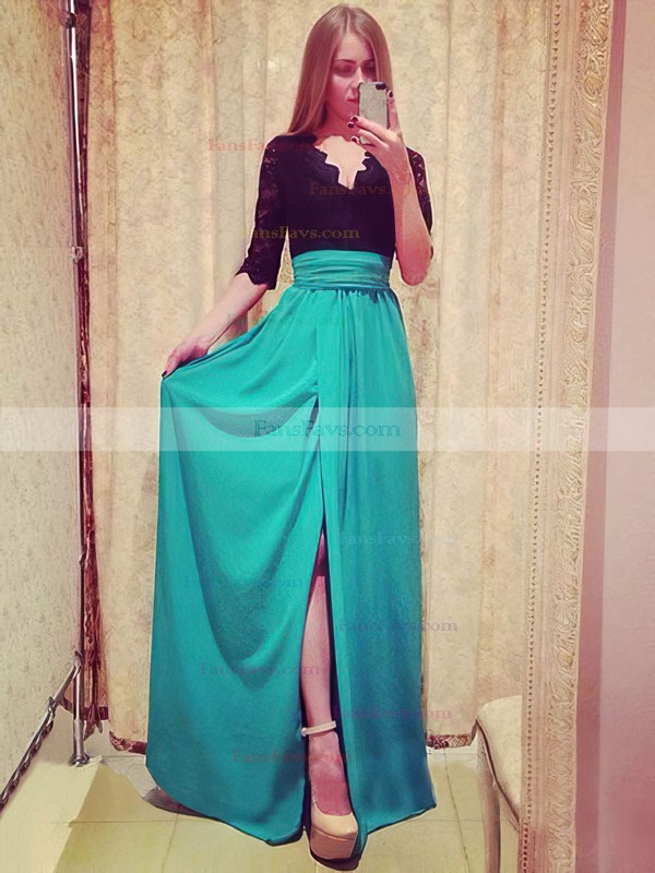 A-line V-neck Floor-length Chiffon Prom Dresses with Lace Split Front #Favs02016899