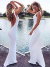 Sheath/Column Scoop Neck Chiffon Sweep Train Prom Dresses #Favs02019044