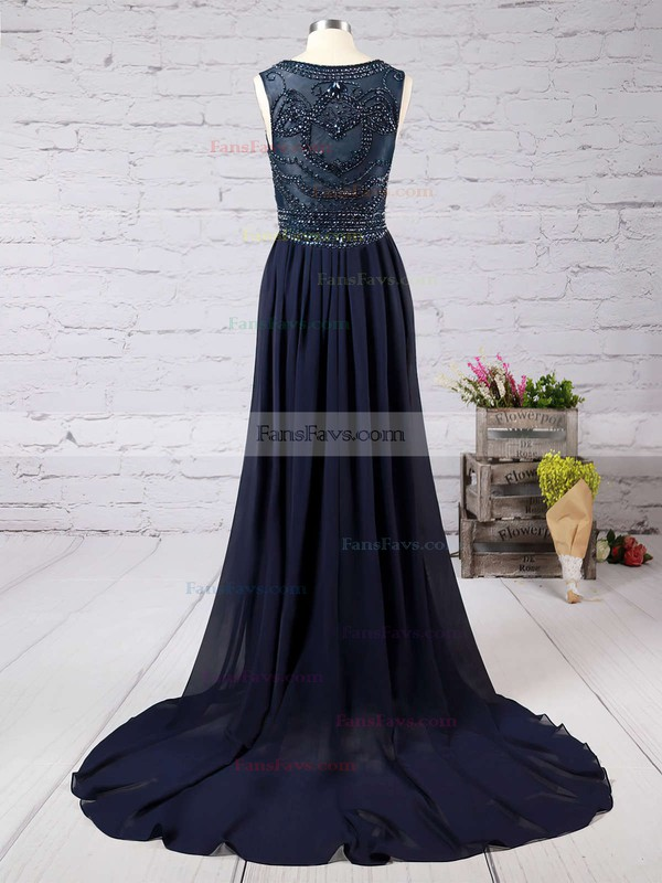Sheath/Column Scoop Neck Court Train Chiffon Tulle Prom Dresses with Beading #Favs020101816