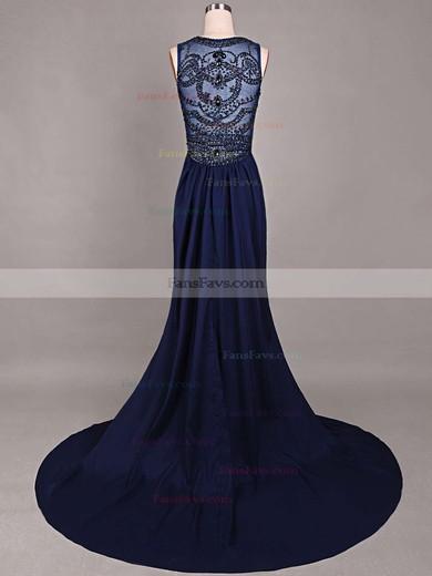 Trumpet/Mermaid Scoop Neck Chiffon Court Train Beading Prom Dresses #Favs020101816
