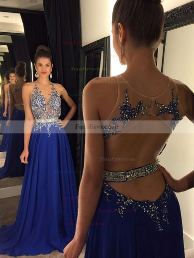 A-line Scoop Neck Chiffon Sweep Train Beading Prom Dresses #Favs020102188