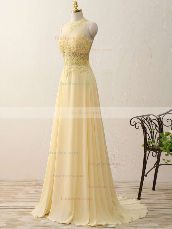 A-line Scoop Neck Sweep Train Chiffon Prom Dresses with Appliques Lace Split Front #Favs020102400